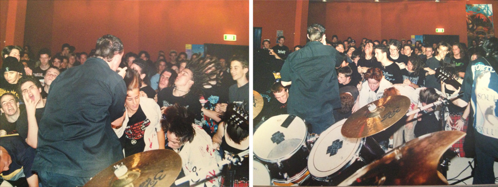 Pyromesh 2001: A mulleted Andy Jones screams down a microphone as the moshpit at Leederville Youth Headquarters hits its peak.